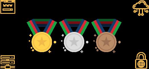 Medalhas para a melhor hospedagem de sites