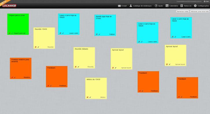 novo webmail Locaweb - bloco de notas