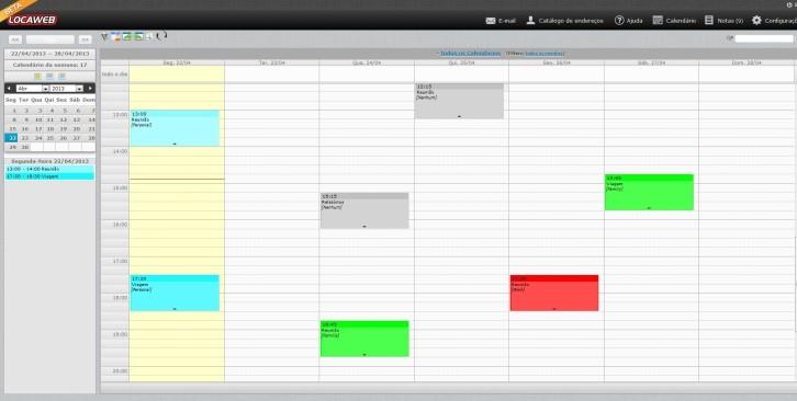 novo webmail Locaweb - calendário
