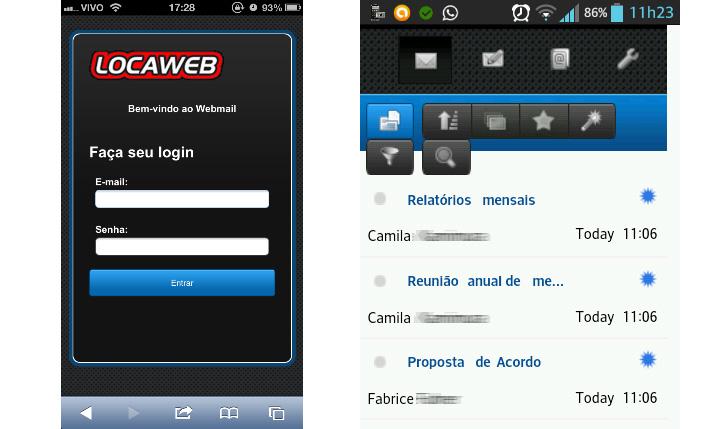 novo webmail Locaweb - versão mobile