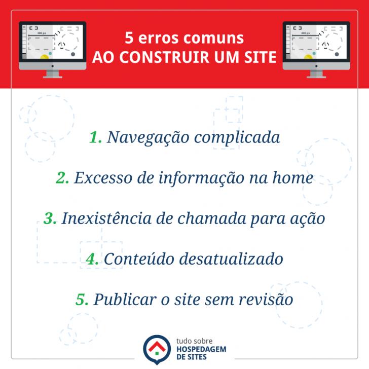 Erros comuns ao construir um site - infográfico