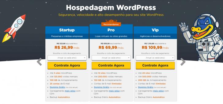 Hospedagem WordPress planos