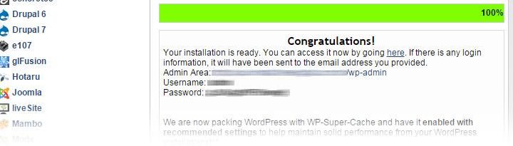 confirmação de instalação do WordPress