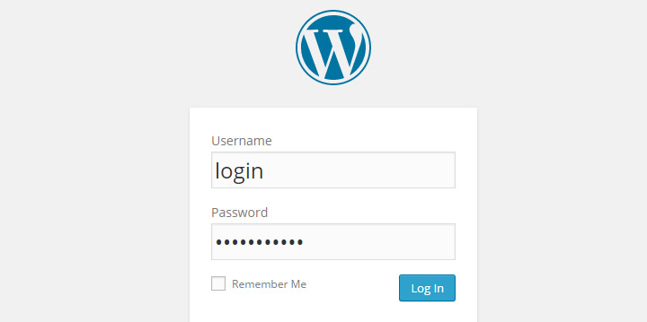 tela de login WordPress
