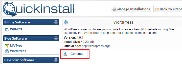Tela inicial QuickInstall WordPress