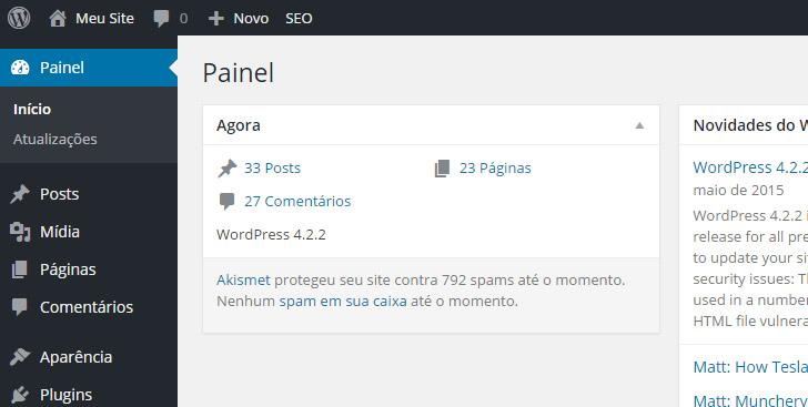 wordpress painel administrador
