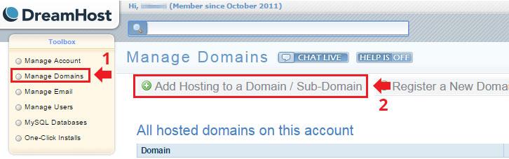 configurar um domínio na DreamHost