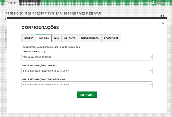 hospedagem wordpress godaddy - tela backup
