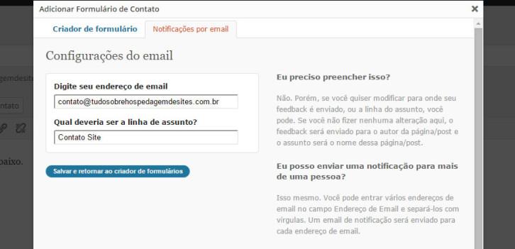 adicionar formulário email
