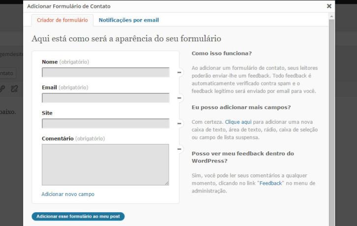 adicionar formulário de contato