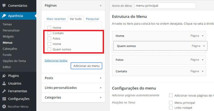 Adicionar páginas ao menu de seu site WordPress