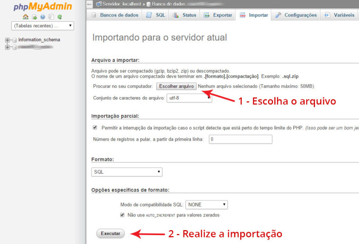 importacao do banco de dados WordPress