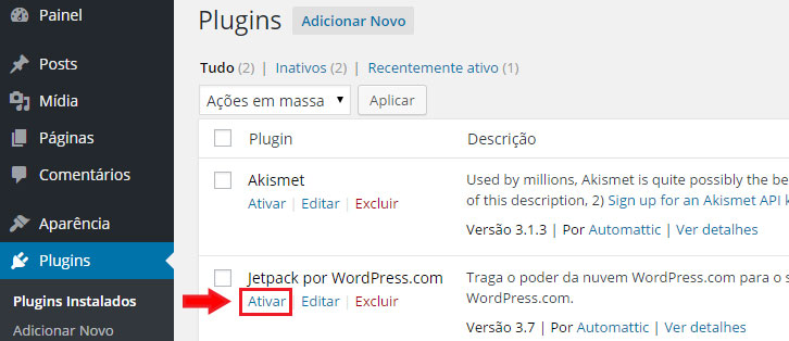 jetpack ativar no WordPress