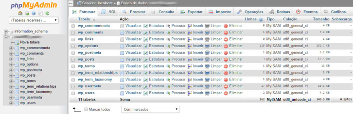 phpmyadmin tabelas wordpress