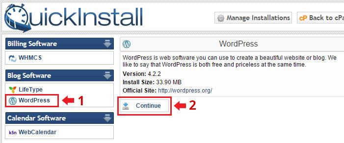 quickinstall criar site wordpress