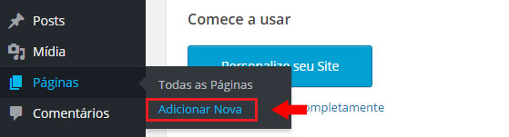 site wordpress - adicionar nova página