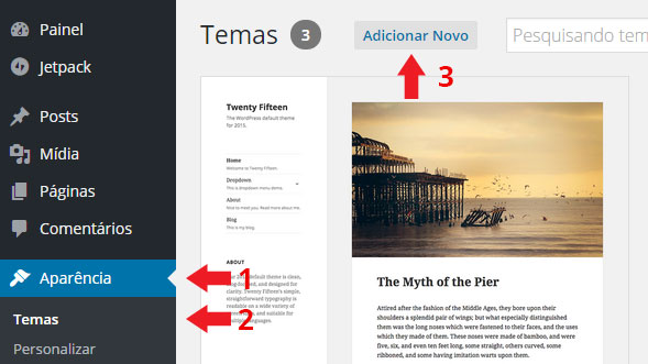 wordpress instalar tema
