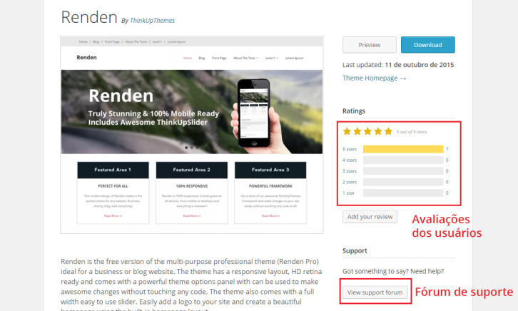 Avaliação tema WordPress