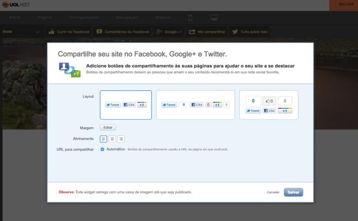 Criador de Sites UOL HOST - Sitebuilder - insercao redes sociais