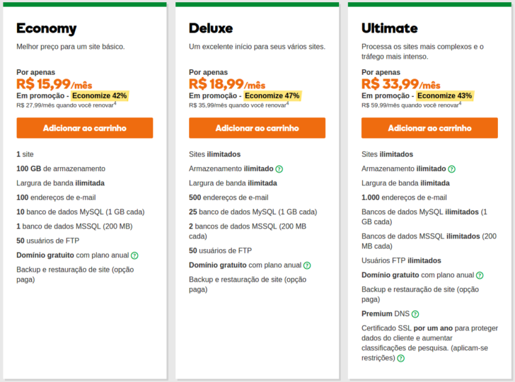 GoDaddy planos de hospedagem Windows