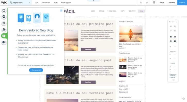 Editor de Site Wix blog