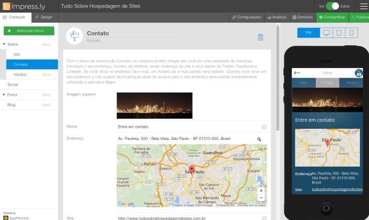 Impress.ly editor de sites 2