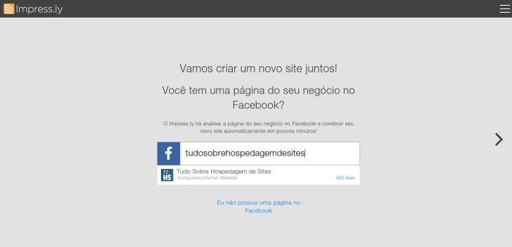 Impressly - tela facebook