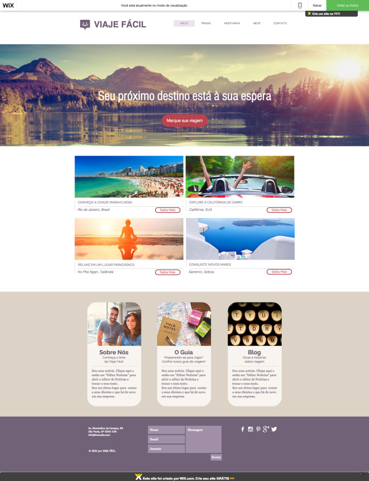 Site Wix Viaje Fácil