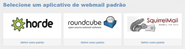 Opções de webmail disponíveis no cPanel