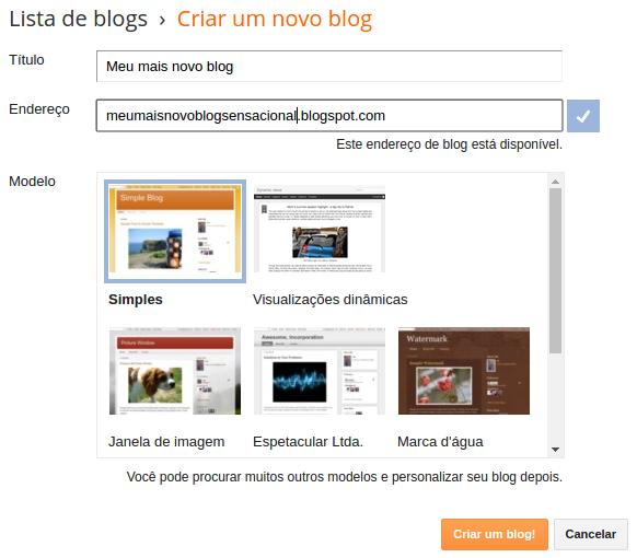 criar um blog com o Blogger