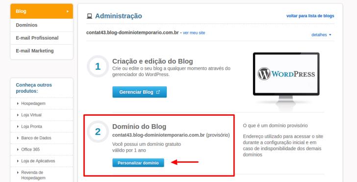 configurar domínio Blog UOL Host