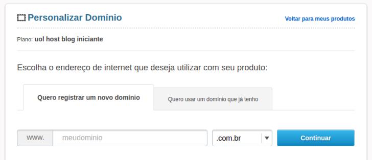 Registrar um novo domínio para o blog UOL Host