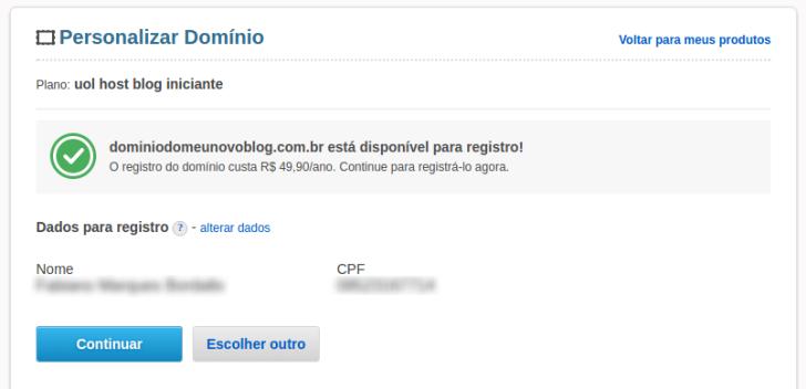 Confirmação registro de domínio Blog