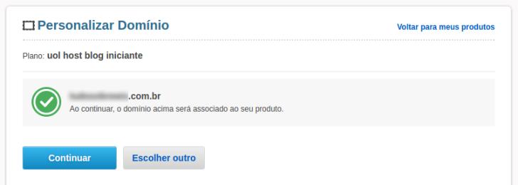 Confirmar associação do domínio com o Blog UOL Host