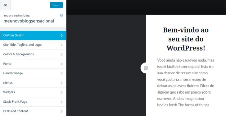 wordpress.com - painel de administração