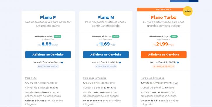 HostGator - tabela de planos em 09/2019