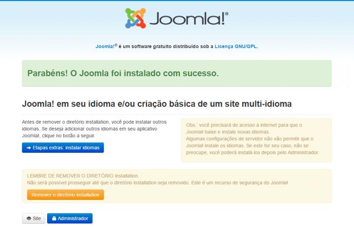 Joomla - sucesso na instalação