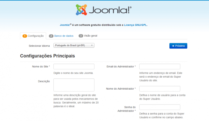 Tela de instalação do Joomla