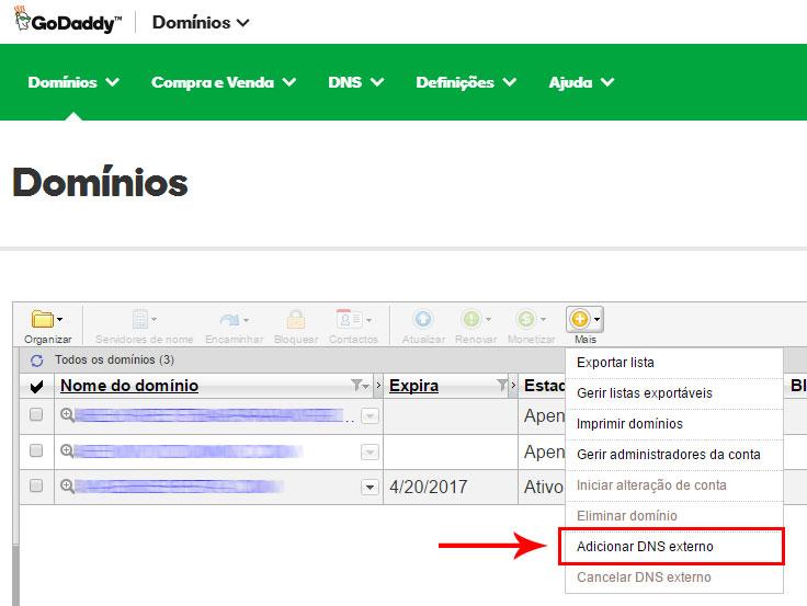 Adicionar DNS externo - painel de controle GoDaddy