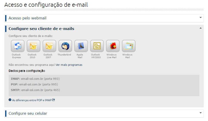 configurar email - Painel Locaweb