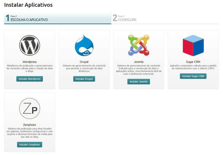 instalar aplicativos - Painel Locaweb