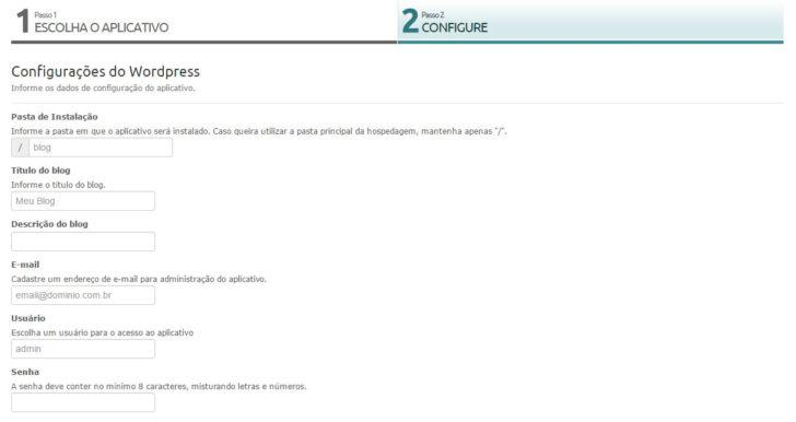 instalar wordpress - hospedagem Locaweb