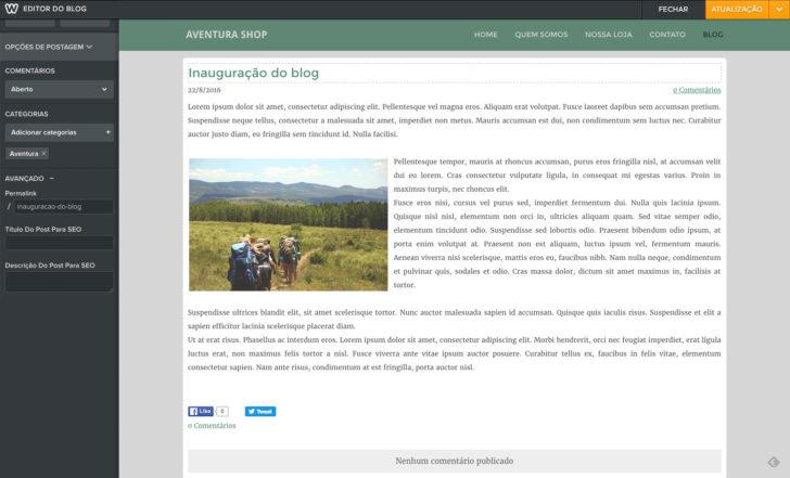 Weebly criação blog post