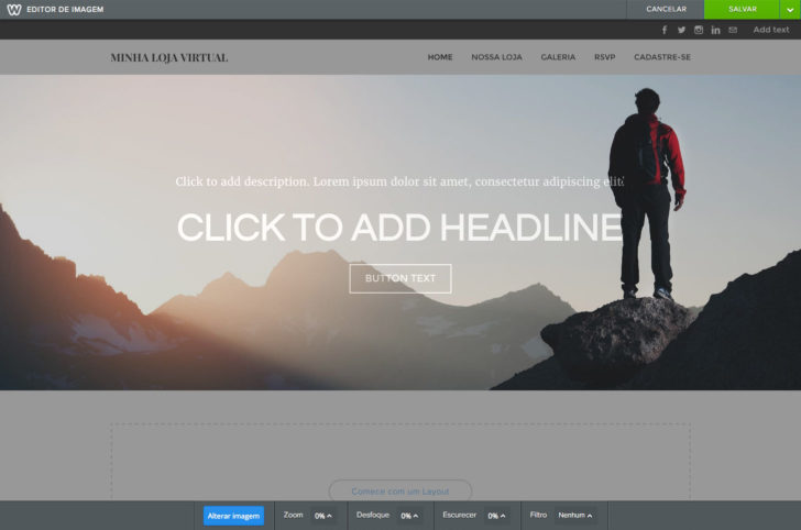 Weebly editando imagem