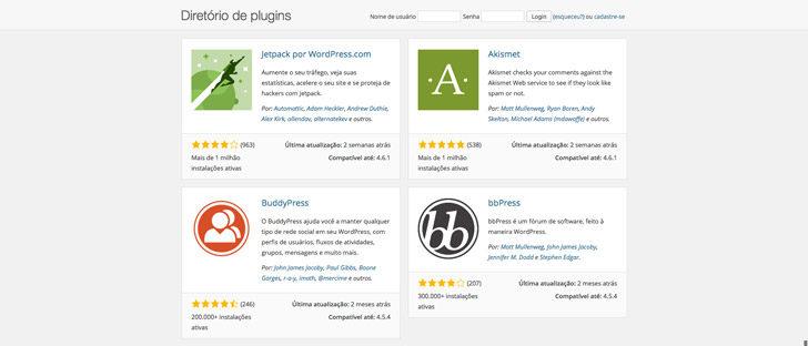 diretório de plugins WordPress