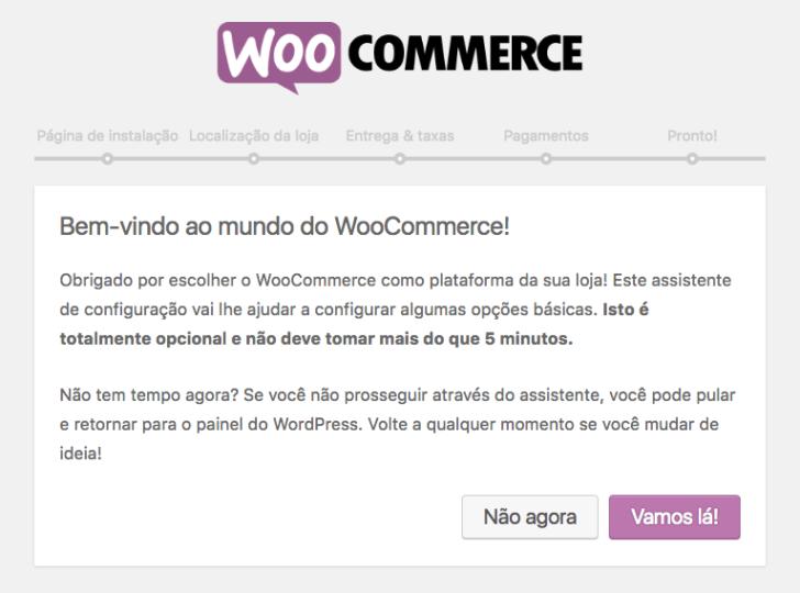 woocommerce assistente de configuração
