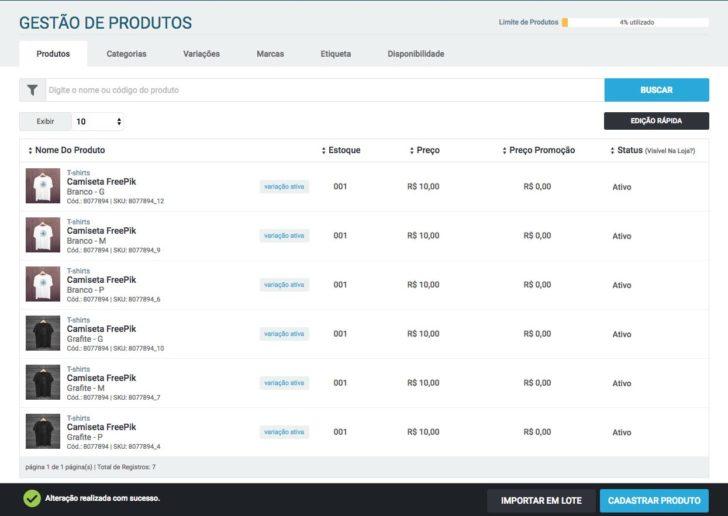 Gestão de produtos - Loja virtual UOL Host