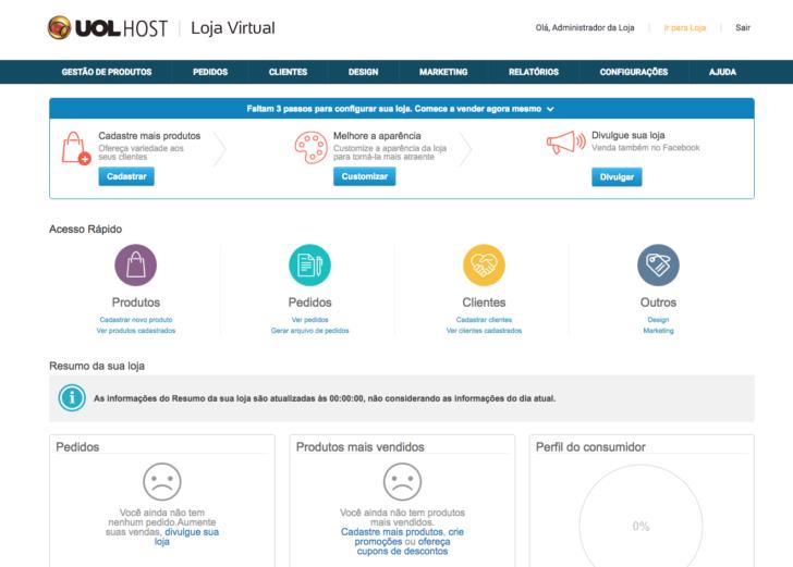 Painel administrativo loja virtual uol host
