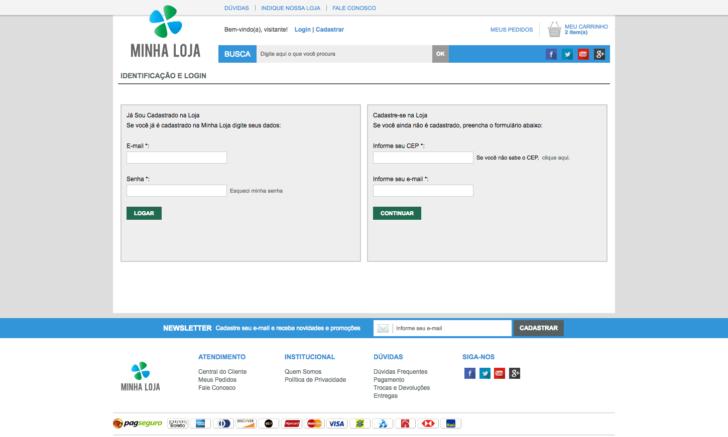 Identificação e login do cliente