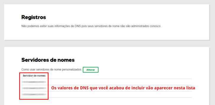 Alteração de DNS realizada